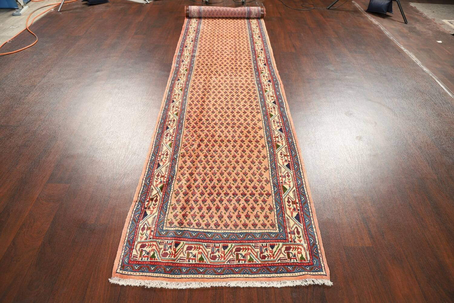 All-Over Peach Botemir Persian Runner Rug 3x14 image 13