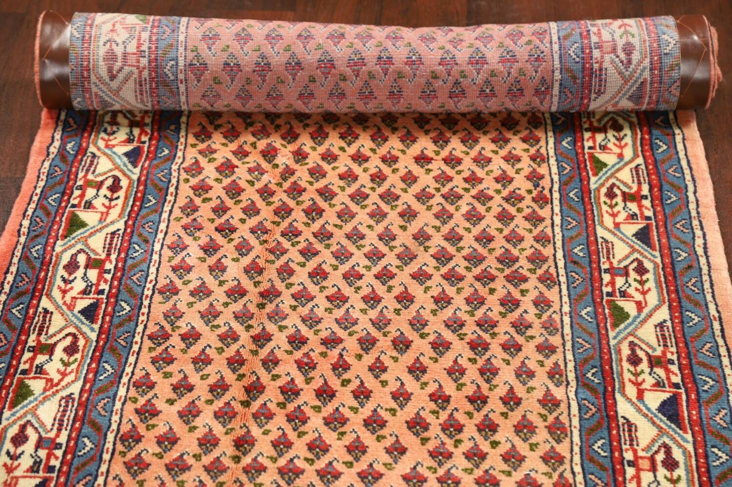 All-Over Peach Botemir Persian Runner Rug 3x14 image 14