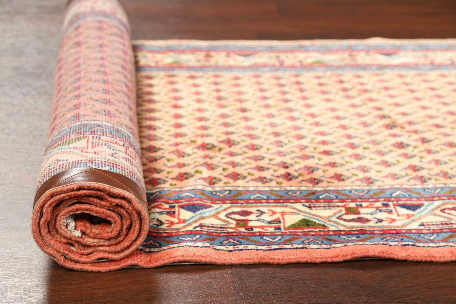 All-Over Peach Botemir Persian Runner Rug 3x14 image 15