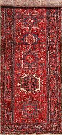 Tribal Geometric Red Gharajeh Persian Runner Rug 5x14