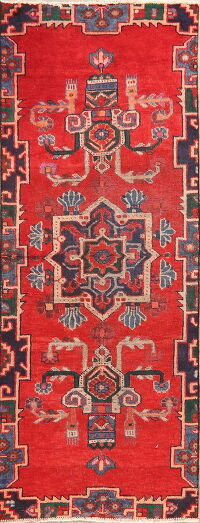 Vintage Geometric Red Bakhtiari Persian Runner Rug 3x7