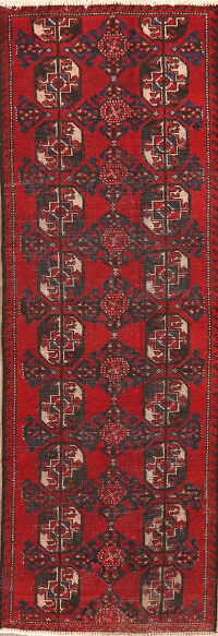 Geometric Red Balouch Persian Runner Rug 2x6