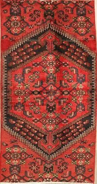 Vintage Geometric Red Hamedan Persian Area Rug 3x6