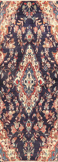 Vintage Navy Blue Floral Lilian Persian Runner Rug 2x6