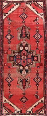 Vintage Geometric Red Bakhtiari Persian Area Rug 3x6