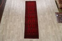 Geometric Red Balouch Oriental Runner Rug 3x10