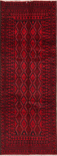 Geometric Red Balouch Persian Runner Rug 3x9
