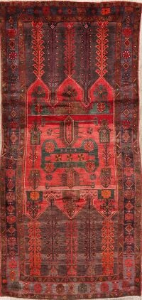 Vintage Tribal Red Zanjan Persian Area Rug 5x10
