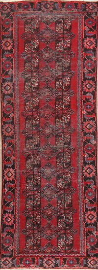 Antique Geometric Balouch Persian Runner Rug 3x9