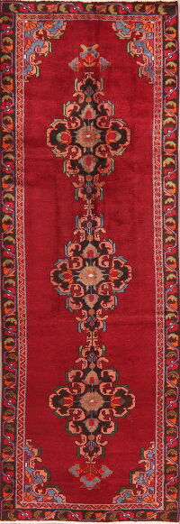 Vintage Geometric Red Lilian Persian Runner Rug 3x10