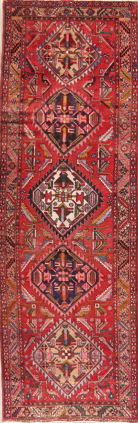 Geometric Red Ardebil Persian Runner Rug 4x11