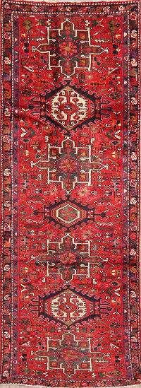 Tribal Geometric Gharajeh Persian Runner Rug 3x9