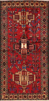 Tribal Geometric Balouch Persian Runner Rug 3x7