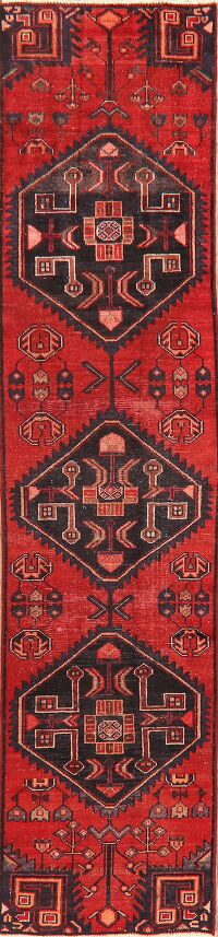 Antique Tribal Geometric Bakhtiari Persian Runner Rug 2x9