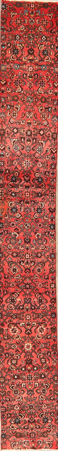 Vintage All-Over Geometric Hamedan Persian Runner Rug 2x12
