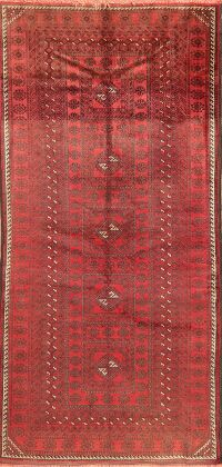 Vintage Geometric Red Balouch Oriental Runner Rug 4x8