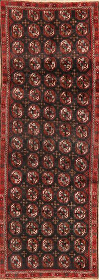 All-Over Geometric Balouch Persian Runner Rug 3x9