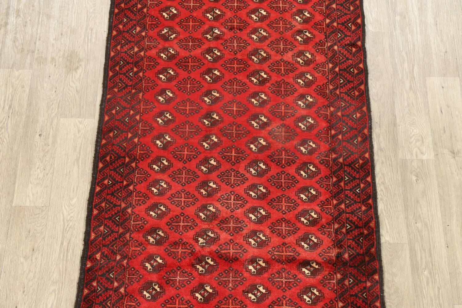 All-Over Red Geometric Balouch Persian Area Rug 4x7 image 3