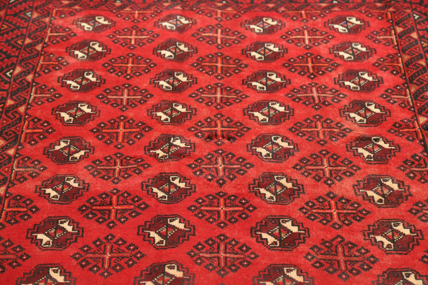 All-Over Red Geometric Balouch Persian Area Rug 4x7 image 9