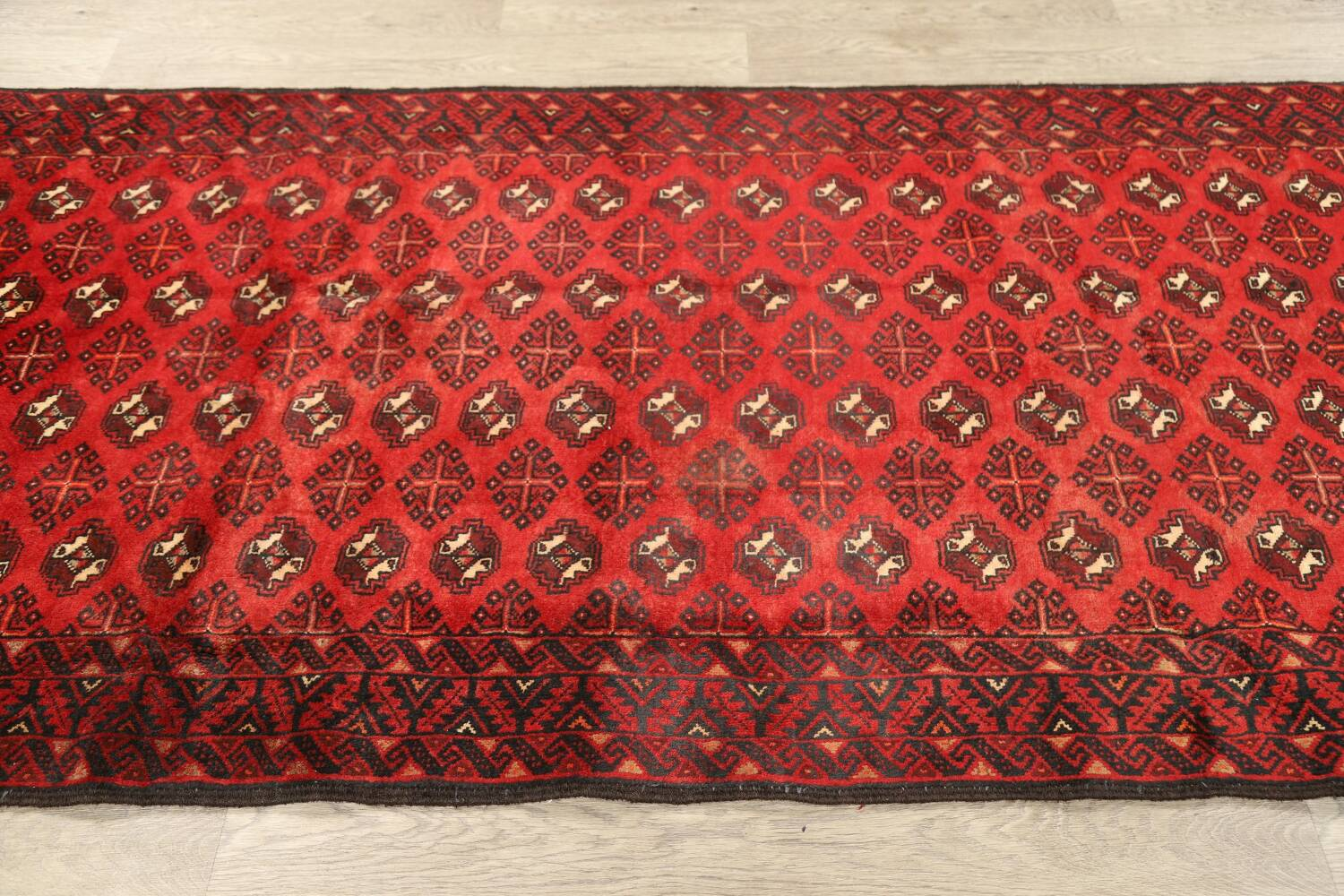 All-Over Red Geometric Balouch Persian Area Rug 4x7 image 11
