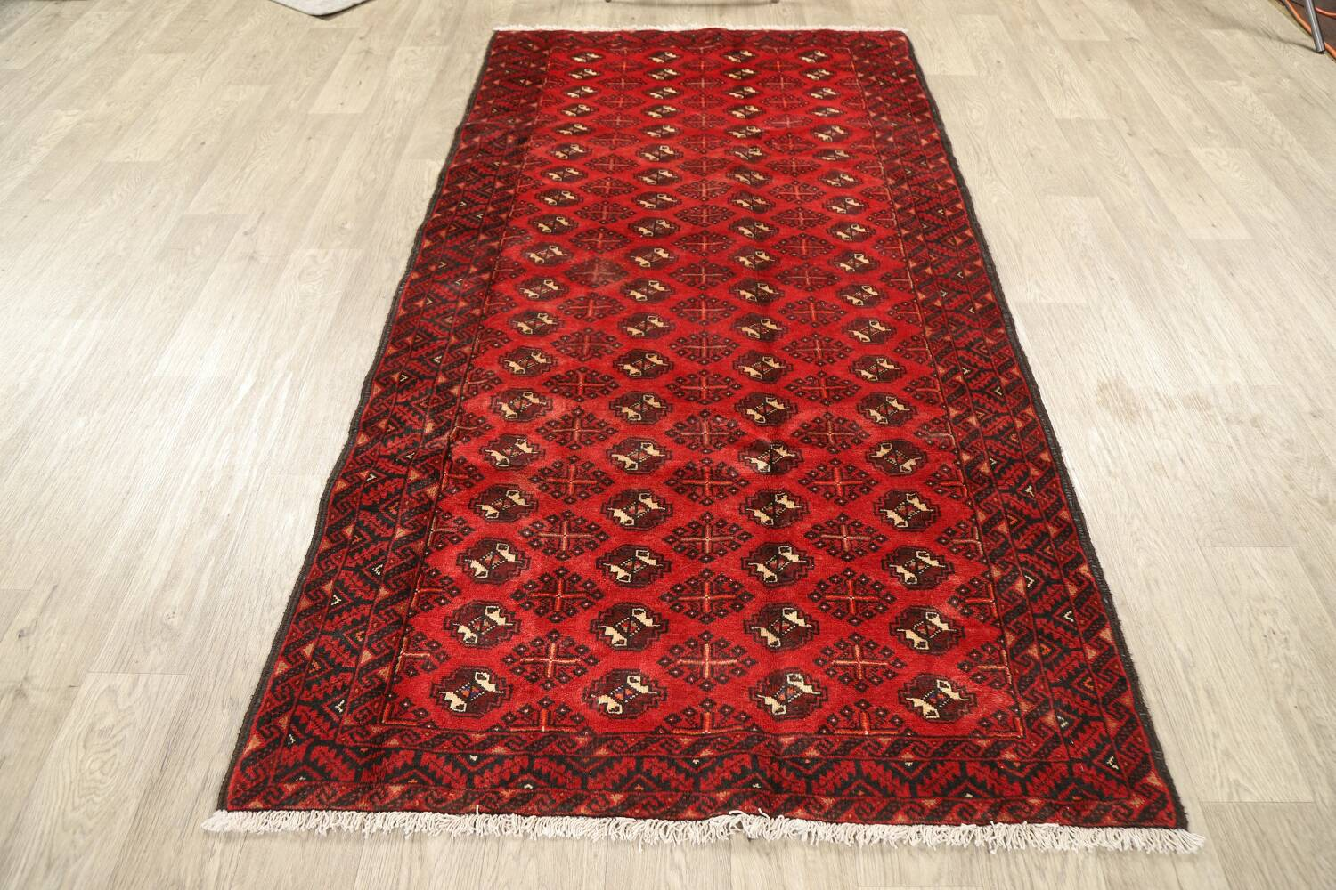 All-Over Red Geometric Balouch Persian Area Rug 4x7 image 12