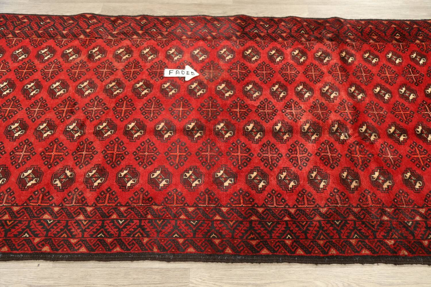 All-Over Red Geometric Balouch Persian Area Rug 4x7 image 14
