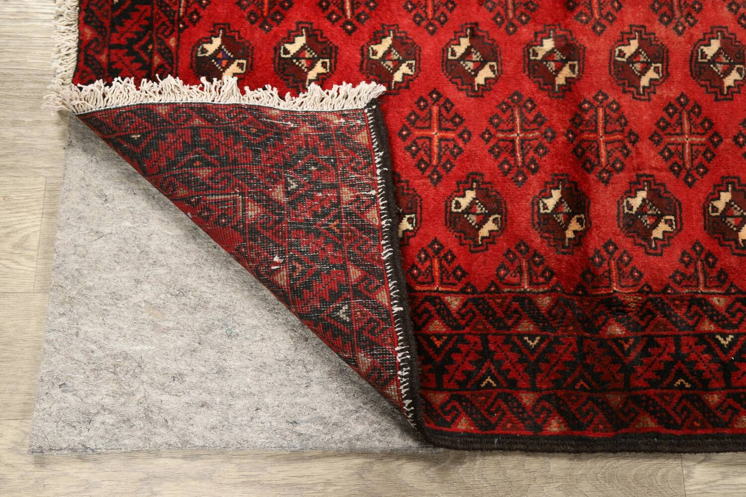 All-Over Red Geometric Balouch Persian Area Rug 4x7 image 19