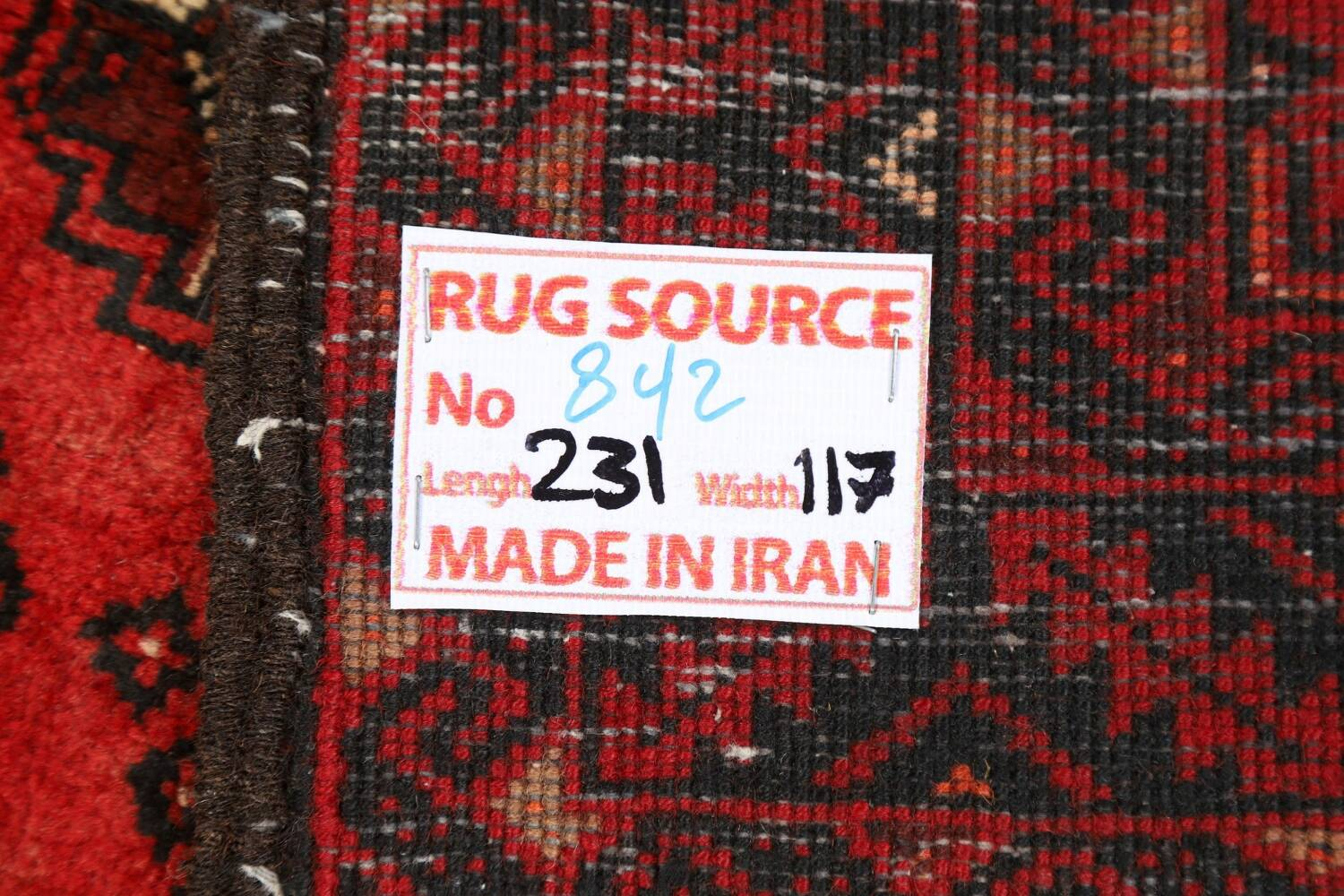 All-Over Red Geometric Balouch Persian Area Rug 4x7 image 22