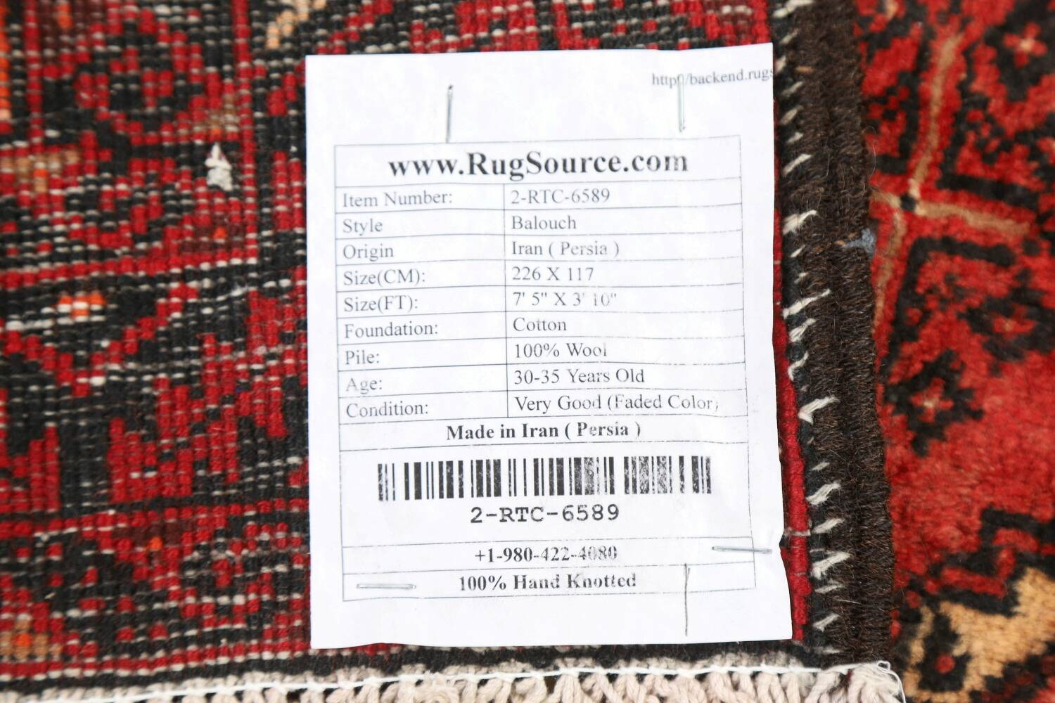 All-Over Red Geometric Balouch Persian Area Rug 4x7 image 23