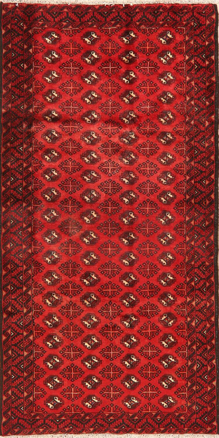 All-Over Red Geometric Balouch Persian Area Rug 4x7 image 1