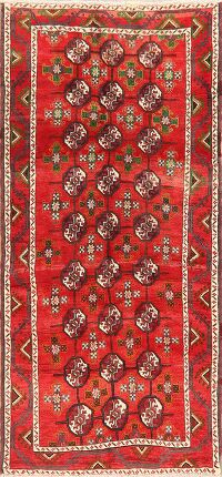 All-Over Red Geometric Balouch Persian Runner Rug 3x7