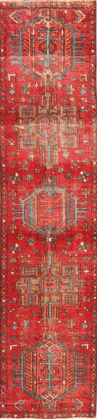 Antique Tribal Geometric Gharajeh Persian Runner Rug 2x10