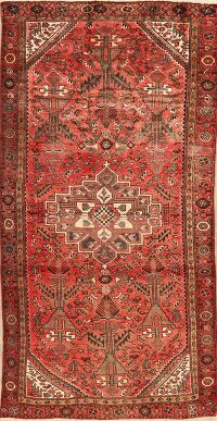 Tribal Geometric Red Bakhtiari Persian Runner Rug 4x8