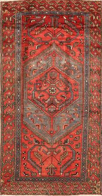 Vintage Geometric Red Hamedan Persian Area Rug 4x7