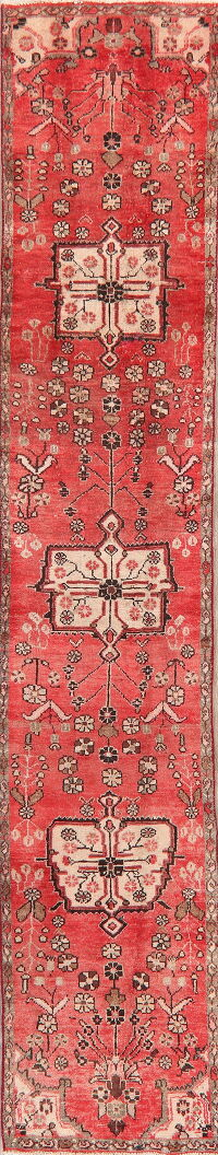 Geometric Red Lilian Persian Runner Rug 2x12