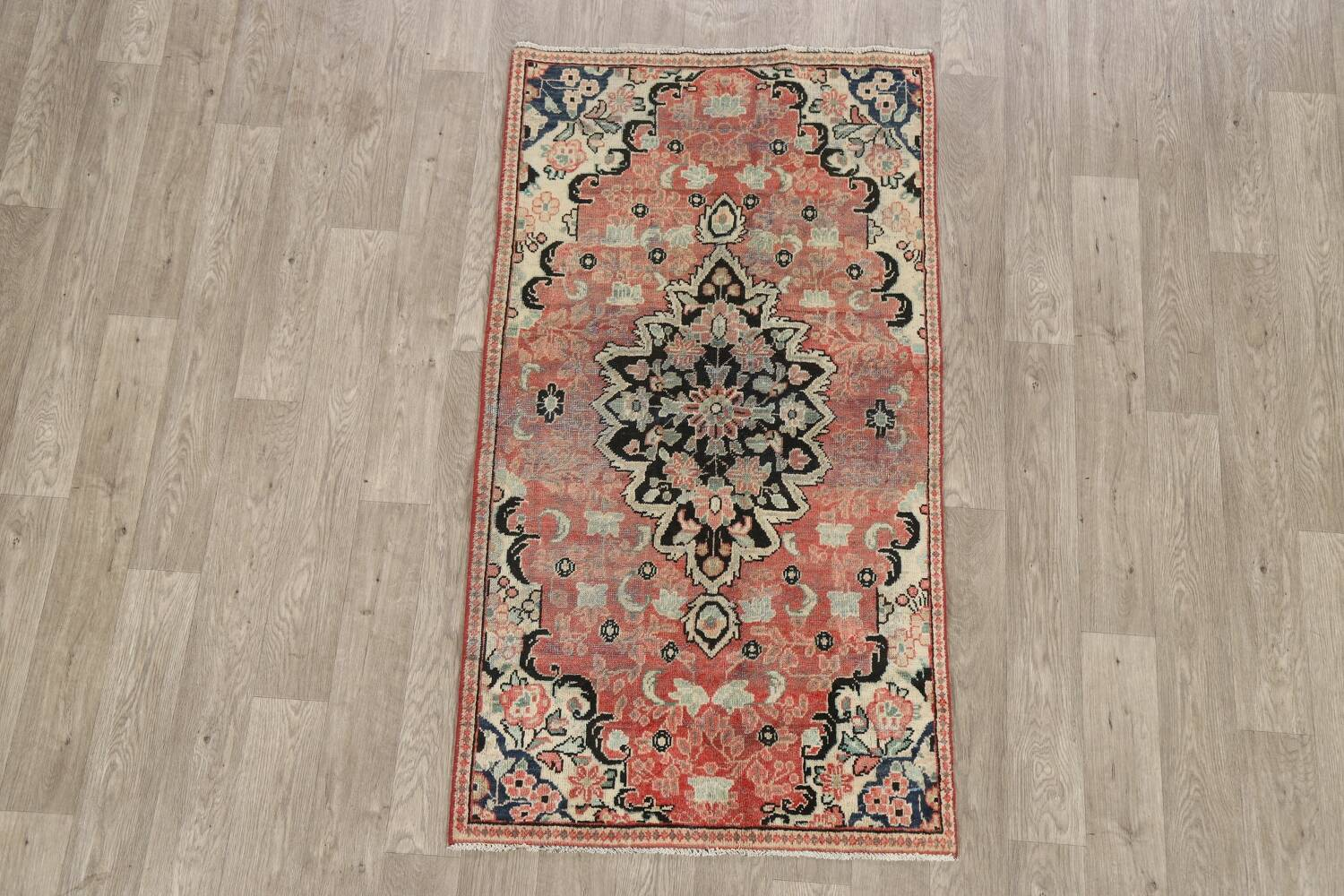 Antique Floral Mahal Persian Area Rug 3x6 image 2