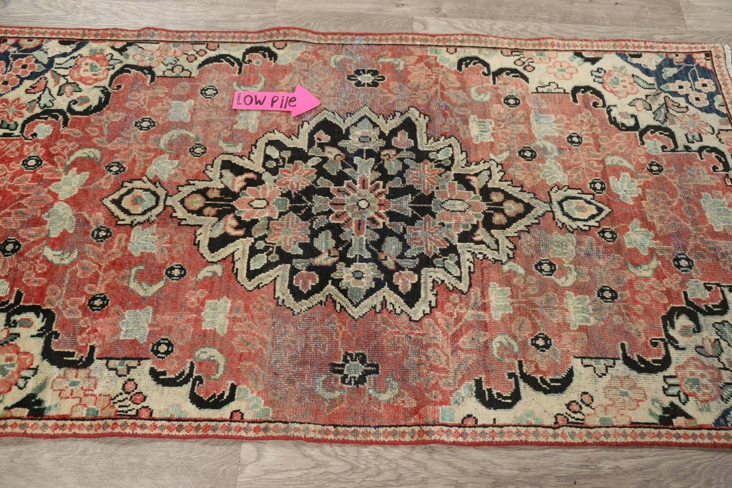 Antique Floral Mahal Persian Area Rug 3x6 image 12