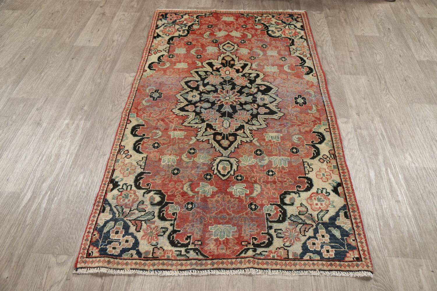 Antique Floral Mahal Persian Area Rug 3x6 image 18
