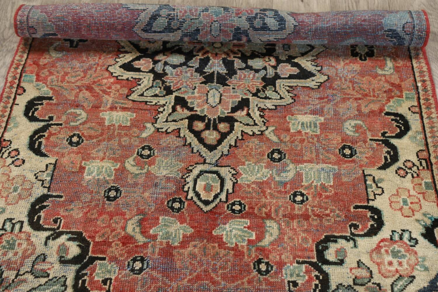 Antique Floral Mahal Persian Area Rug 3x6 image 19