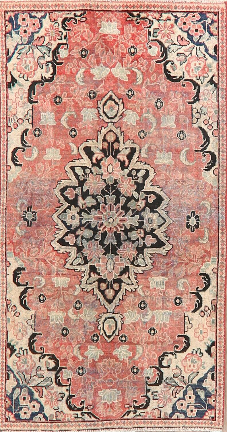 Antique Floral Mahal Persian Area Rug 3x6 image 1