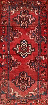 Vintage Geometric Red Malayer Persian Runner Rug 3x7