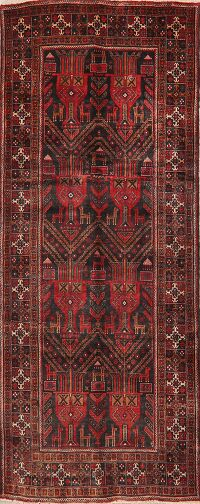 Vintage Tribal Geometric Zanjan Persian Runner Rug 4x9
