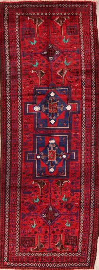 Vintage Tribal Geometric Balouch Persian Runner Rug 4x10