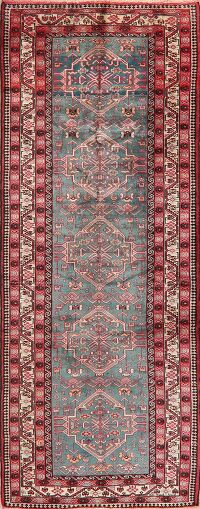 Green Geometric Bokhara Persian Runner Rug 3x9