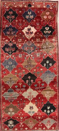 Antique Geometric Red Bakhtiari Persian Area Rug 4x7