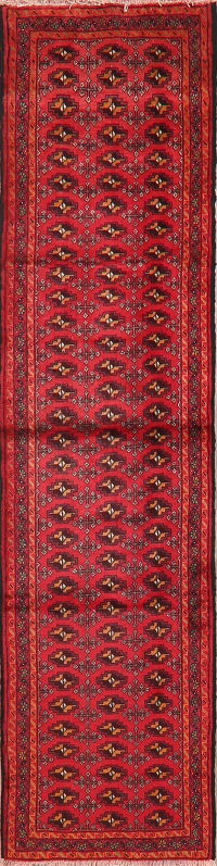 Vintage Geometric Red Balouch Persian Runner Rug 2x9