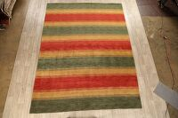 All-Over Striped Gabbeh Oriental Area Rug 9x12