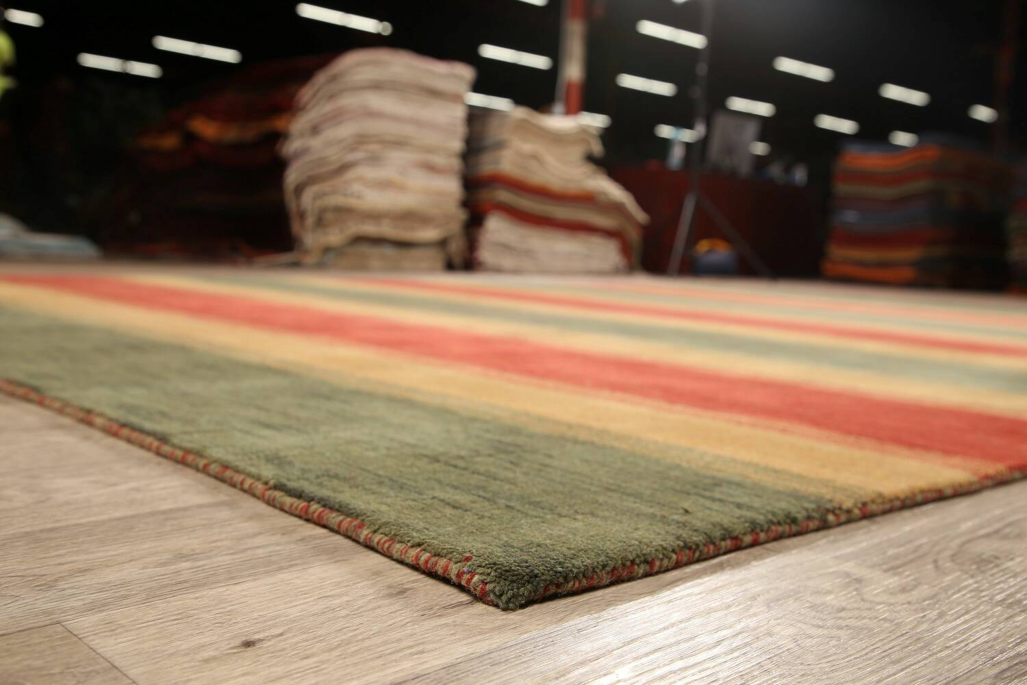 All-Over Striped Gabbeh Oriental Area Rug 9x12 image 6