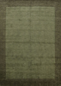 Contemporary Gabbeh Solid Oriental Green Area Rug 9x12