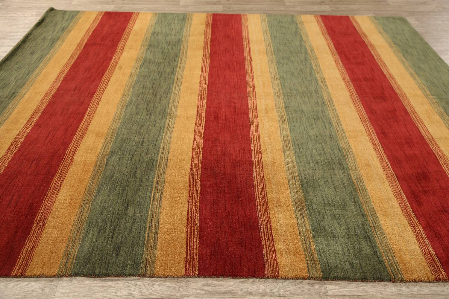 All-Over Striped Gabbeh Oriental Area Rug 9x12 image 11